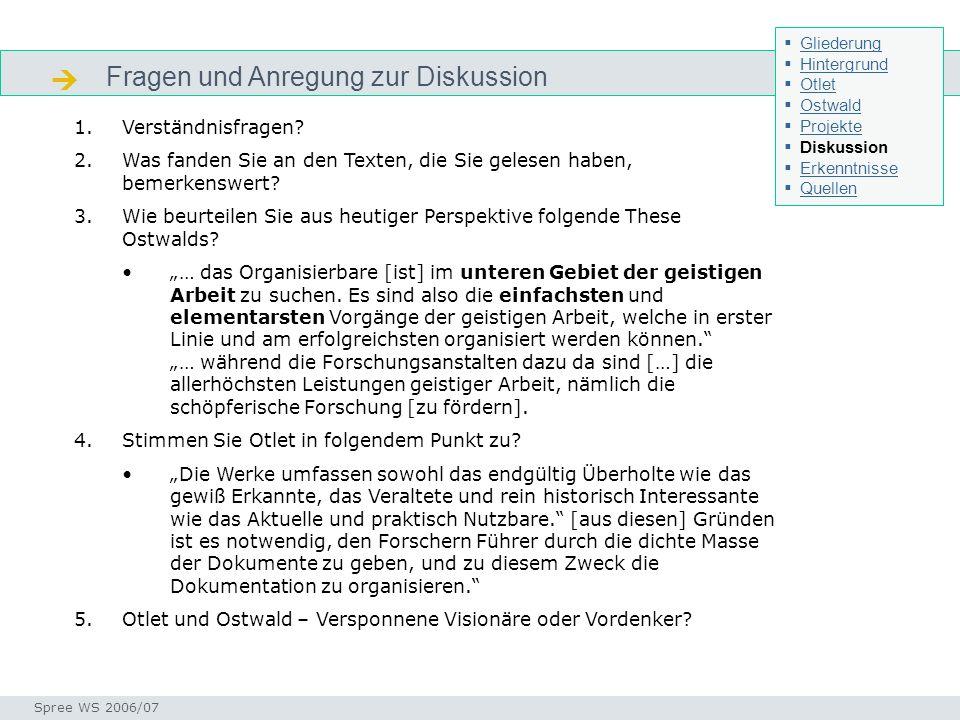 Fragen und Anregung zur Diskussion Seminar I-Prax: Inhaltserschließung visueller Medien, 5.10.2004 Spree WS 2006/07 Diskussion 1.Verständnisfragen? 2.