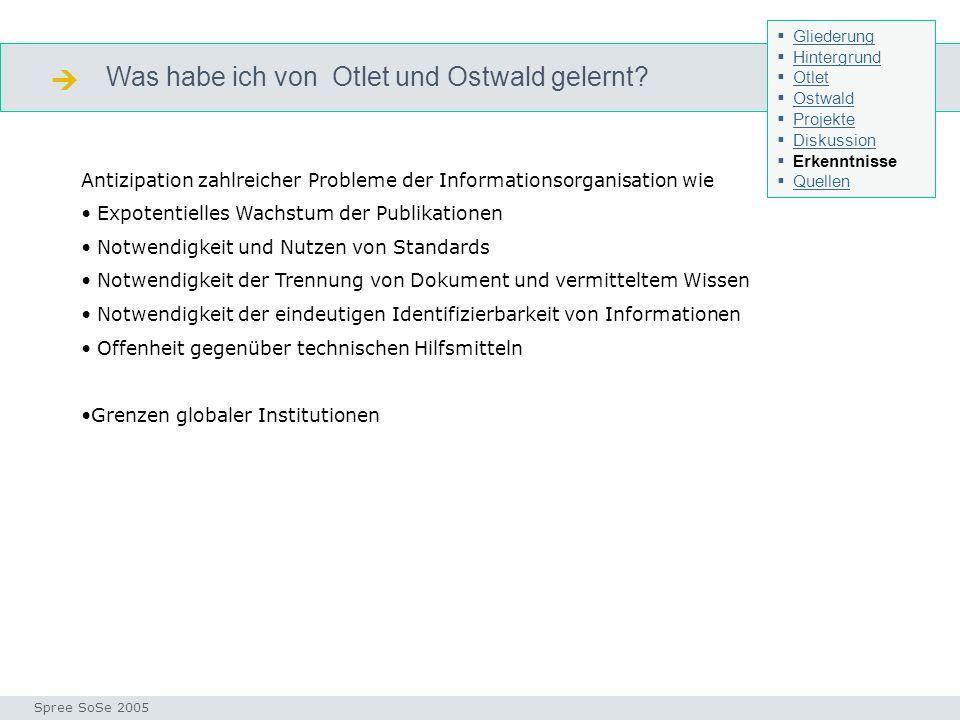 Was habe ich von Otlet und Ostwald gelernt? Seminar I-Prax: Inhaltserschließung visueller Medien, 5.10.2004 Spree SoSe 2005 Erkenntnisse Antizipation