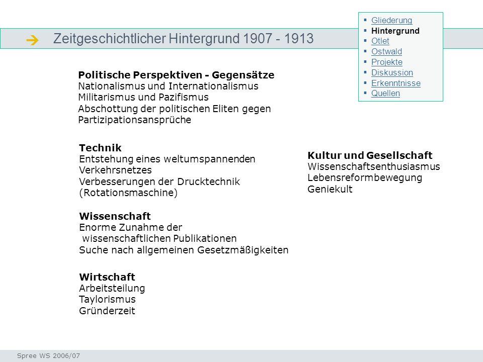 Zeitgeschichtlicher Hintergrund 1907 - 1913 Zeitgeschichtlicher Hintergrund Seminar I-Prax: Inhaltserschließung visueller Medien, 5.10.2004 Spree WS 2