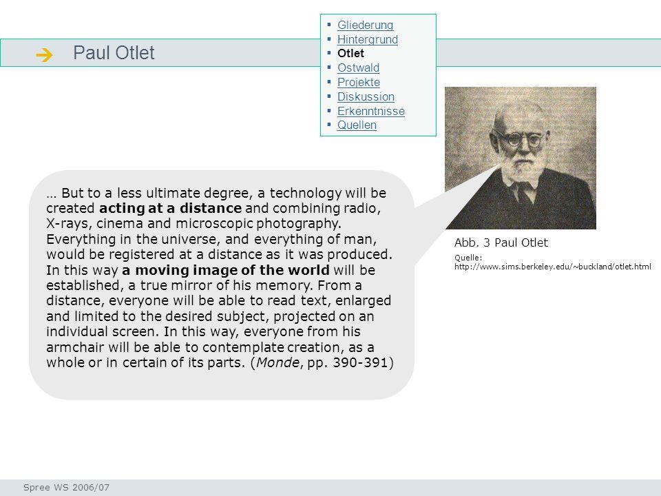 Otlet Biografie Otlet - Bio Seminar I-Prax: Inhaltserschließung visueller Medien, 5.10.2004 Spree WS 2006/07 * 1868 in Brüssel 1890 Dr.