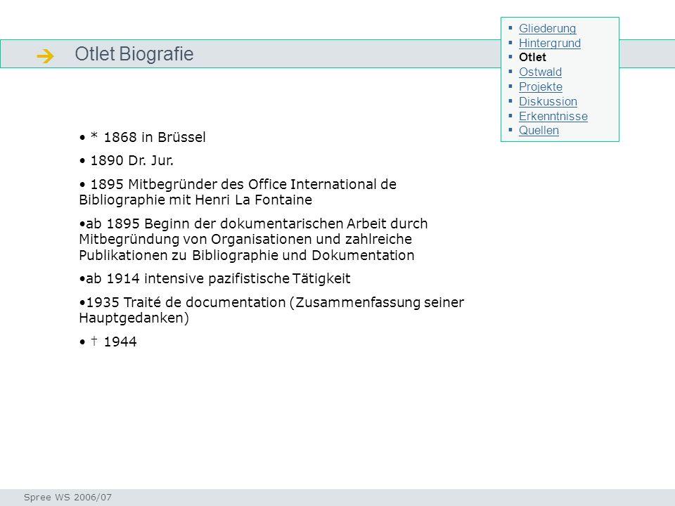 Otlet Biografie Otlet - Bio Seminar I-Prax: Inhaltserschließung visueller Medien, 5.10.2004 Spree WS 2006/07 * 1868 in Brüssel 1890 Dr. Jur. 1895 Mitb