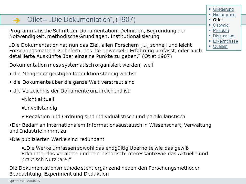 Otlet – Die Dokumentation, (1907) Otlet - Gedankenwelt Seminar I-Prax: Inhaltserschließung visueller Medien, 5.10.2004 Spree WS 2006/07 Programmatisch