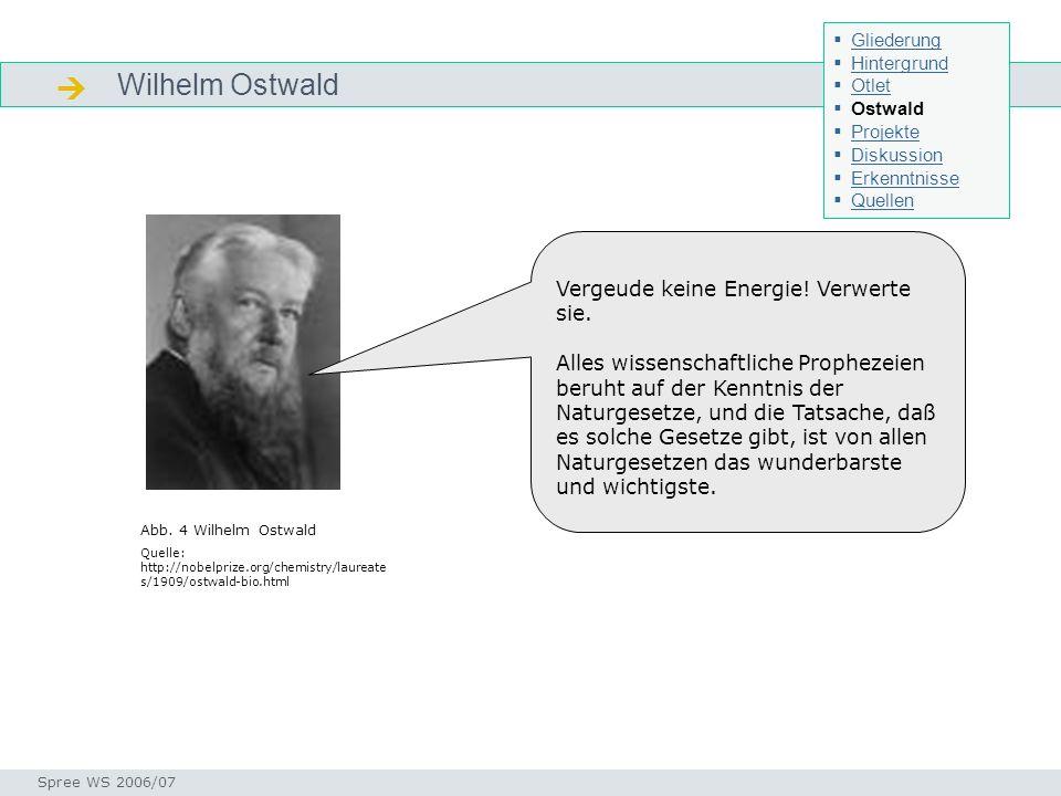 Wilhelm Ostwald Ostwald Seminar I-Prax: Inhaltserschließung visueller Medien, 5.10.2004 Spree WS 2006/07 Abb. 4 Wilhelm Ostwald Quelle: http://nobelpr