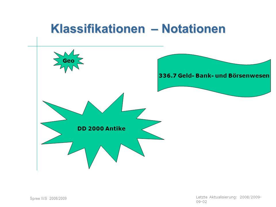 Letzte Aktualisierung: 2008/2009- 09-02 Spree WS 2008/2009 Klassifikationen – Notationen Geo DD 2000 Antike 336.7 Geld- Bank- und Börsenwesen