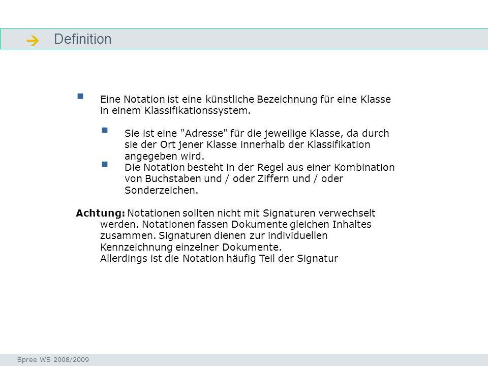 Definition Einstieg Seminar I-Prax: Inhaltserschließung visueller Medien, 5.10.2004 Spree WS 2008/2009 Eine Notation ist eine künstliche Bezeichnung f