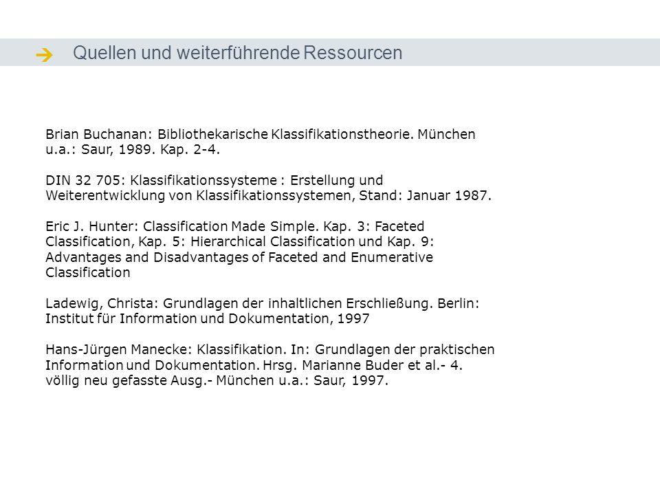 Quellen und weiterführende Ressourcen Quellen / Ressourcen Brian Buchanan: Bibliothekarische Klassifikationstheorie. München u.a.: Saur, 1989. Kap. 2-