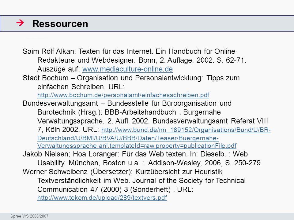Ressourcen ArbeitsschritteW Seminar I-Prax: Inhaltserschließung visueller Medien, 5.10.2004 Spree WS 2006/2007 Saim Rolf Alkan: Texten für das Internet.
