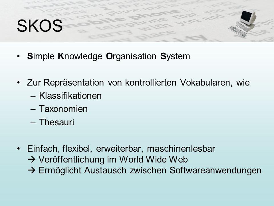 SKOS Simple Knowledge Organisation System Zur Repräsentation von kontrollierten Vokabularen, wie –Klassifikationen –Taxonomien –Thesauri Einfach, flex