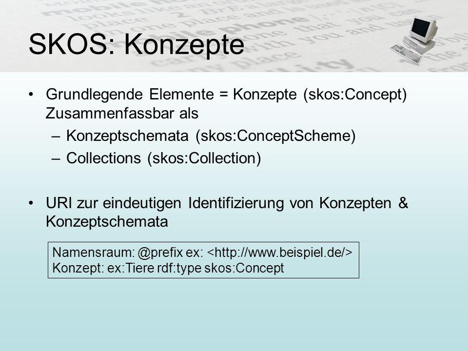 SKOS: Konzepte Grundlegende Elemente = Konzepte (skos:Concept) Zusammenfassbar als –Konzeptschemata (skos:ConceptScheme) –Collections (skos:Collection