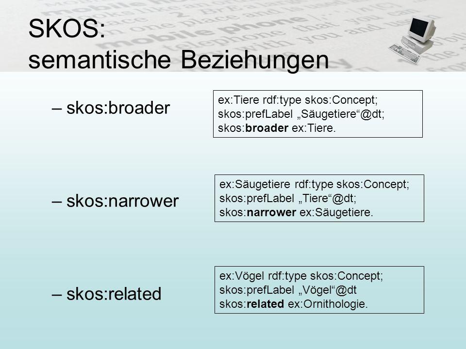 SKOS: semantische Beziehungen –skos:broader –skos:narrower –skos:related ex:Tiere rdf:type skos:Concept; skos:prefLabel Säugetiere@dt; skos:broader ex
