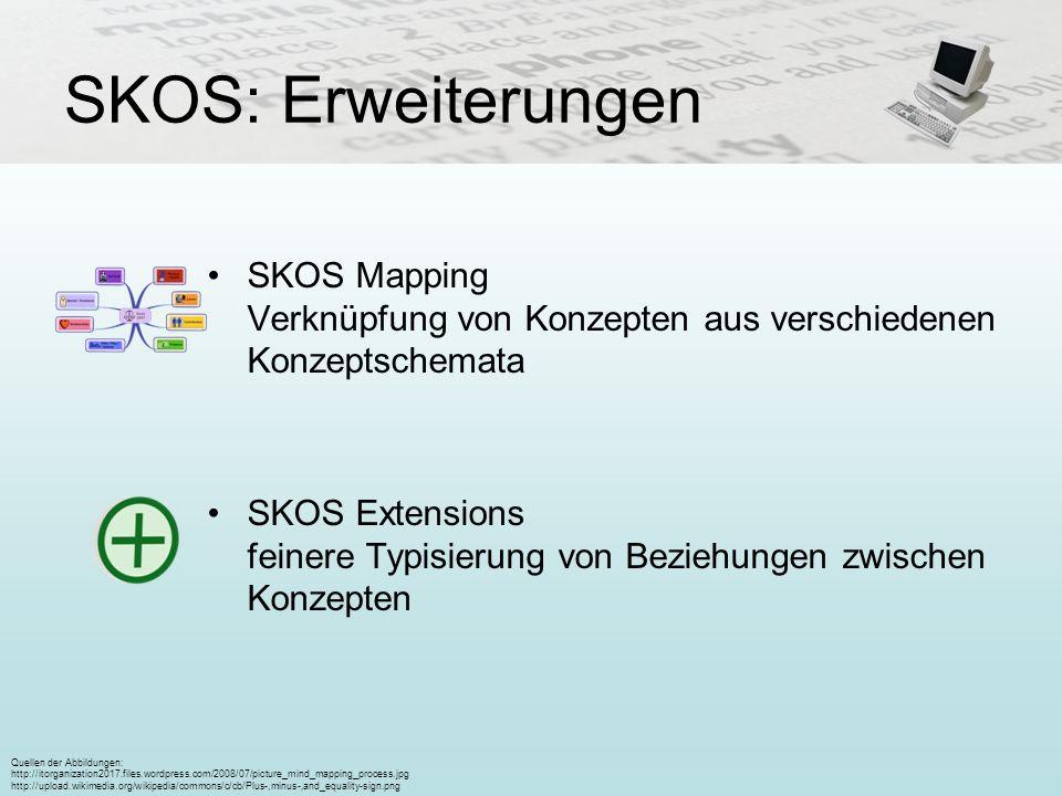 SKOS: Erweiterungen SKOS Mapping Verknüpfung von Konzepten aus verschiedenen Konzeptschemata SKOS Extensions feinere Typisierung von Beziehungen zwisc