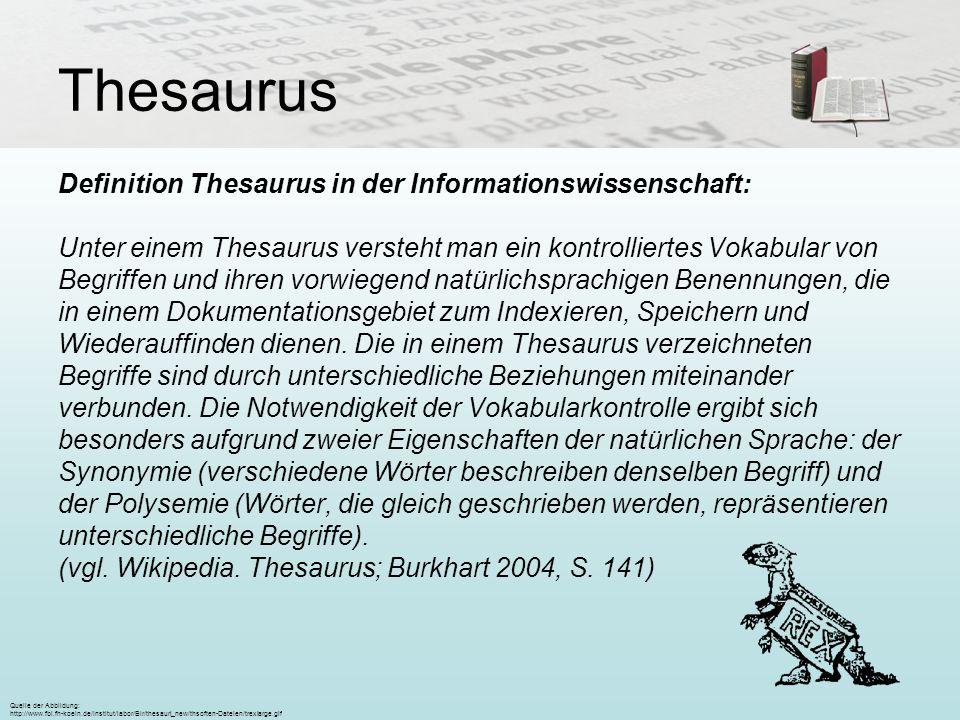 Thesaurus Definition Thesaurus in der Informationswissenschaft: Unter einem Thesaurus versteht man ein kontrolliertes Vokabular von Begriffen und ihre