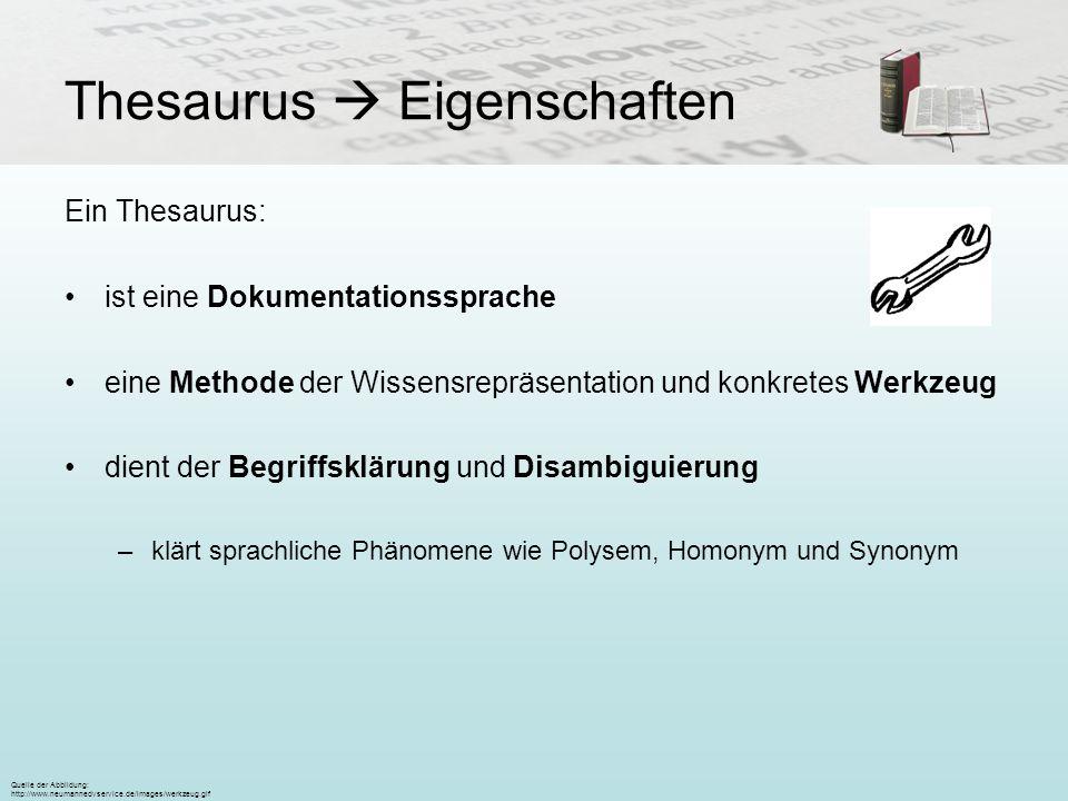 Thesaurus Eigenschaften Ein Thesaurus: ist eine Dokumentationssprache eine Methode der Wissensrepräsentation und konkretes Werkzeug dient der Begriffs