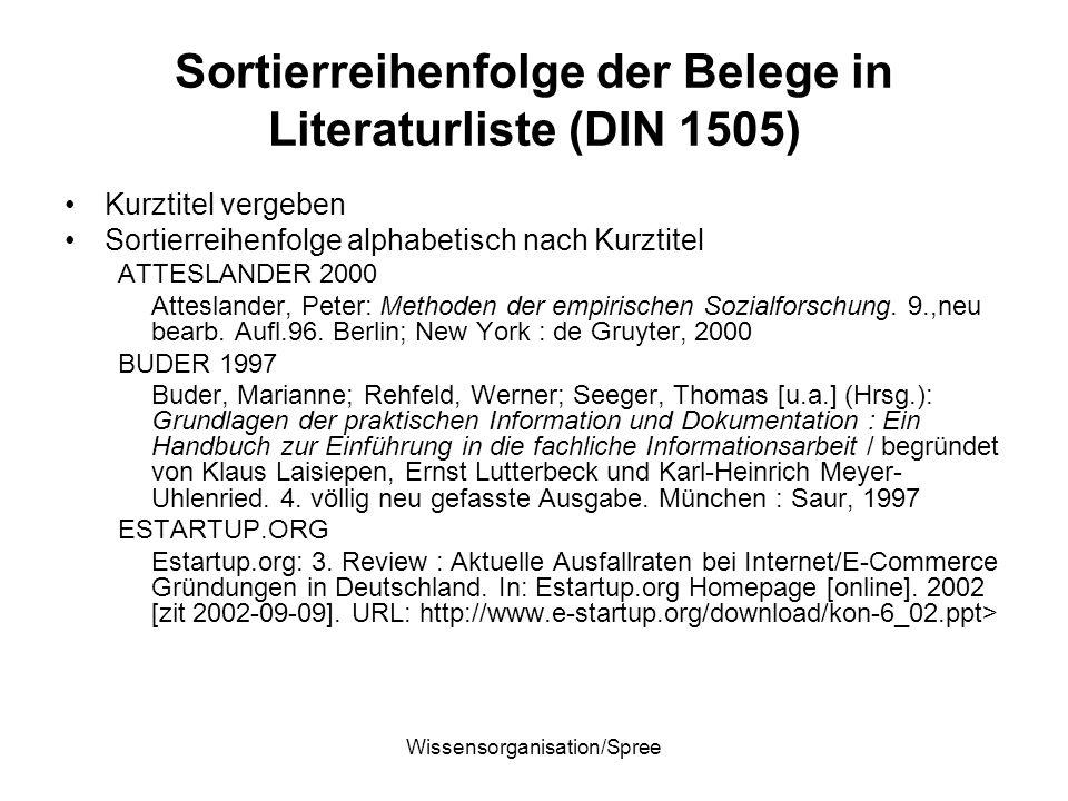 Wissensorganisation/Spree Sortierreihenfolge der Belege in Literaturliste (DIN 1505) Kurztitel vergeben Sortierreihenfolge alphabetisch nach Kurztitel