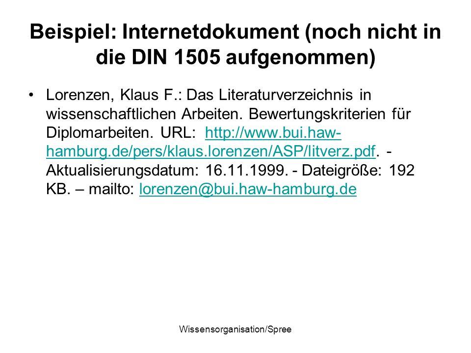 Wissensorganisation/Spree Beispiel: Internetdokument (noch nicht in die DIN 1505 aufgenommen) Lorenzen, Klaus F.: Das Literaturverzeichnis in wissensc