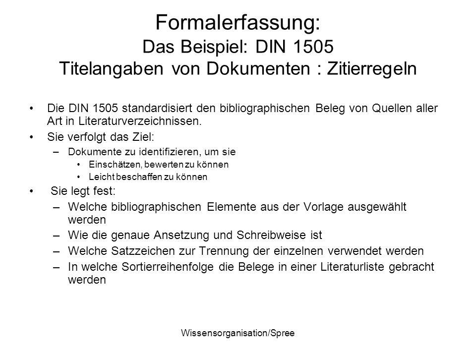 Wissensorganisation/Spree Formalerfassung: Das Beispiel: DIN 1505 Titelangaben von Dokumenten : Zitierregeln Die DIN 1505 standardisiert den bibliogra
