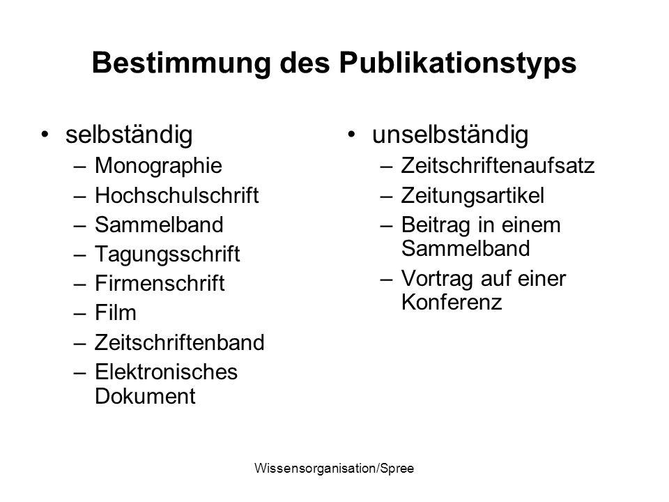 Wissensorganisation/Spree Bestimmung des Publikationstyps selbständig –Monographie –Hochschulschrift –Sammelband –Tagungsschrift –Firmenschrift –Film