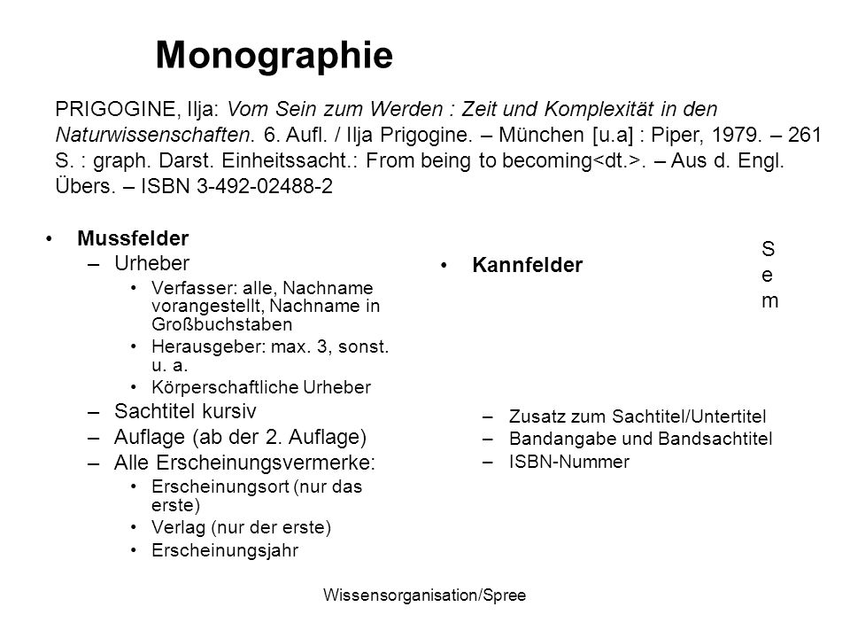 Wissensorganisation/Spree Monographie Mussfelder –Urheber Verfasser: alle, Nachname vorangestellt, Nachname in Großbuchstaben Herausgeber: max. 3, son