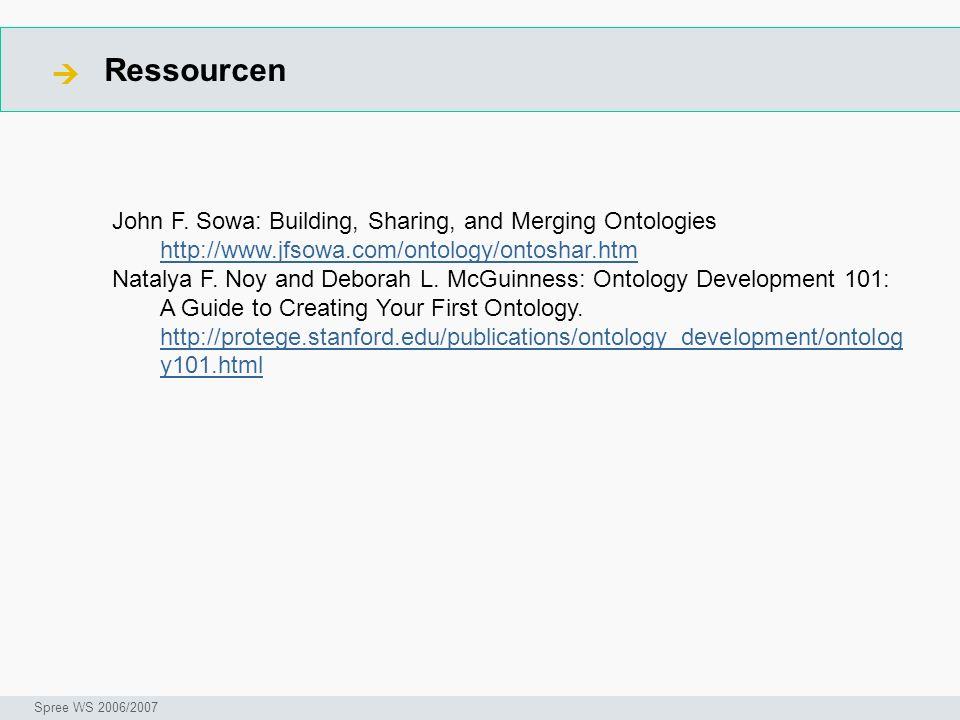 Ressourcen Seminar I-Prax: Inhaltserschließung visueller Medien, 5.10.2004 Spree WS 2006/2007 John F. Sowa: Building, Sharing, and Merging Ontologies