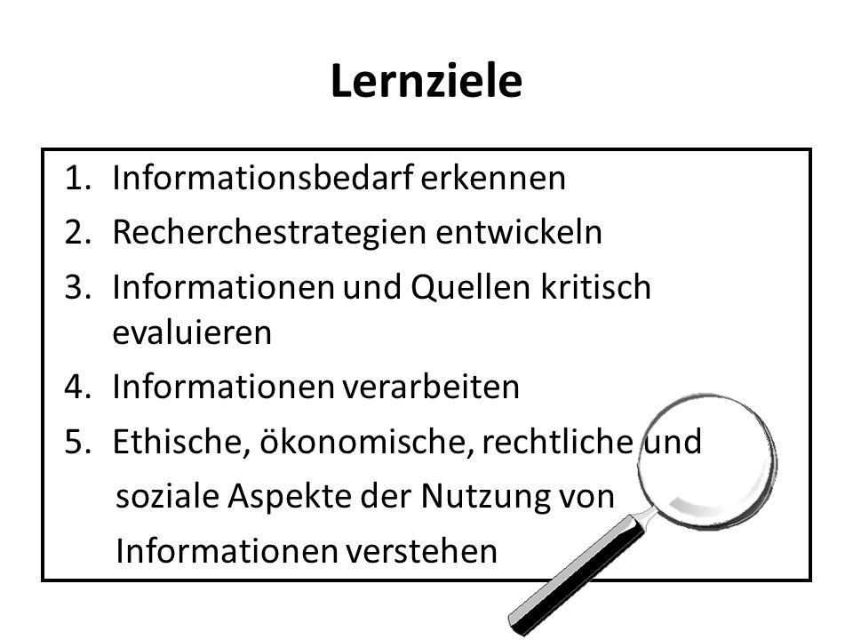 Lernziele 1.Informationsbedarf erkennen 2.Recherchestrategien entwickeln 3.Informationen und Quellen kritisch evaluieren 4.Informationen verarbeiten 5.Ethische, ökonomische, rechtliche und soziale Aspekte der Nutzung von Informationen verstehen