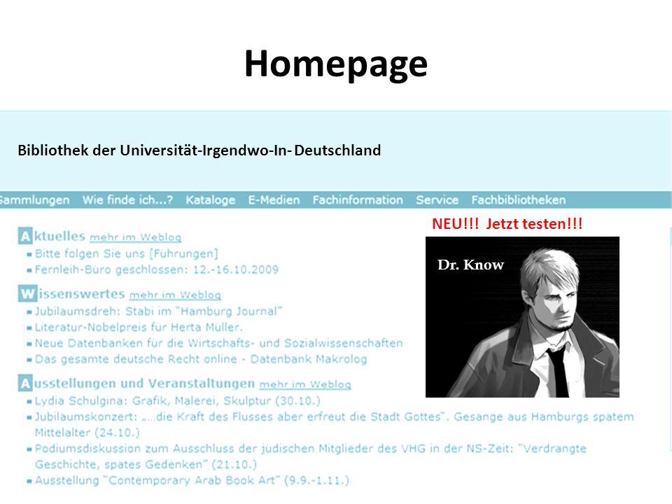 Homepage NEU!!! Jetzt testen!!! Bibliothek der Universität-Irgendwo-In- Deutschland Dr. Know