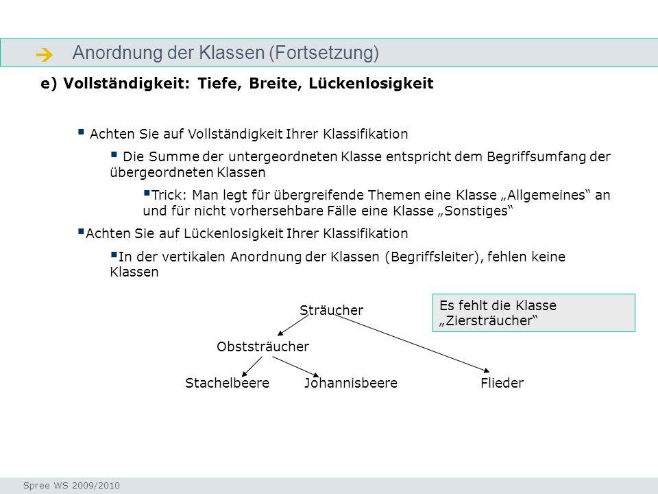 Anordnung der Klassen (Fortsetzung) Strukturierung e) Vollständigkeit: Tiefe, Breite, Lückenlosigkeit Seminar I-Prax: Inhaltserschließung visueller Me