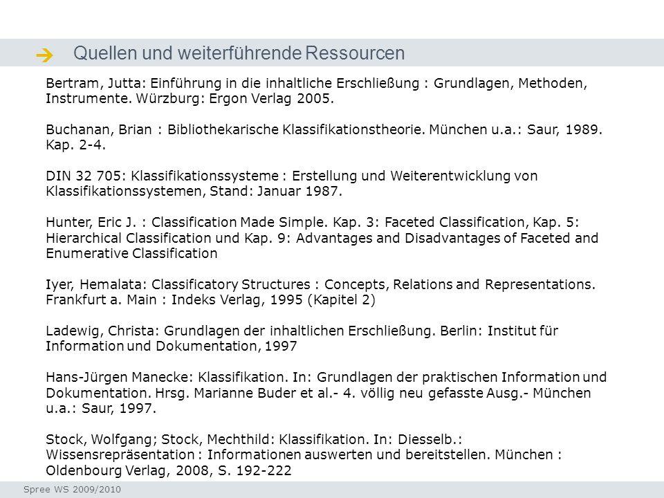Quellen und weiterführende Ressourcen Quellen / Ressourcen Seminar I-Prax: Inhaltserschließung visueller Medien, 5.10.2004 Spree WS 2009/2010 Bertram,