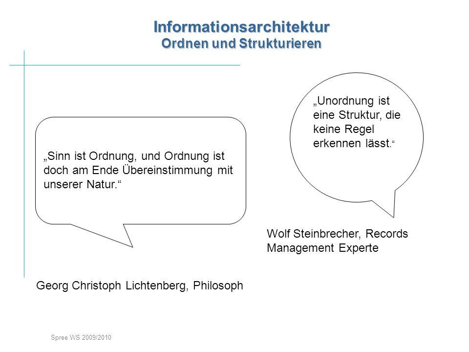 Spree WS 2009/2010 Informationsarchitektur Ordnen und Strukturieren Sinn ist Ordnung, und Ordnung ist doch am Ende Übereinstimmung mit unserer Natur.