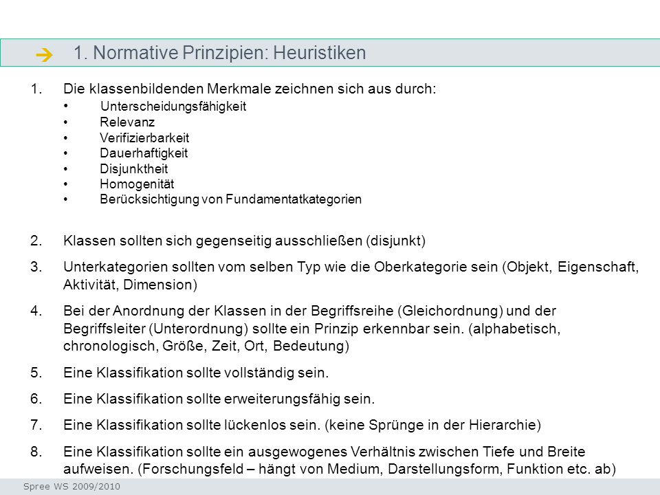 1. Normative Prinzipien: Heuristiken Ordnungsschemata Seminar I-Prax: Inhaltserschließung visueller Medien, 5.10.2004 Spree WS 2009/2010 1.Die klassen