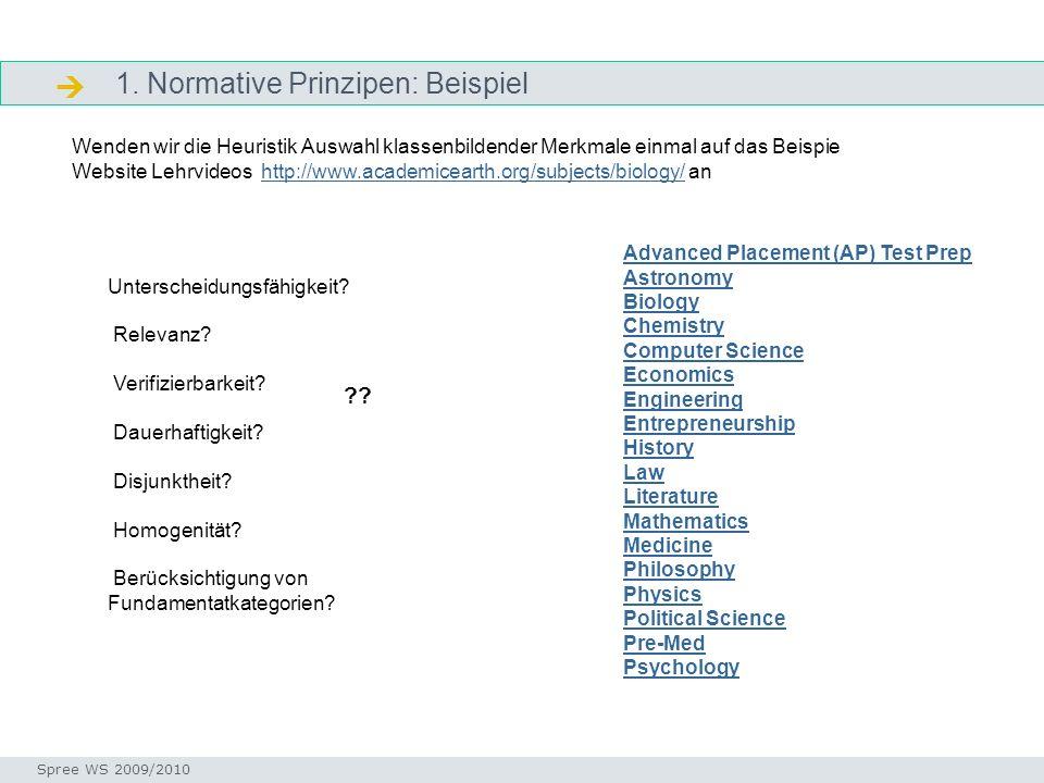 1. Normative Prinzipen: Beispiel Arbeitsschritte Seminar I-Prax: Inhaltserschließung visueller Medien, 5.10.2004 Spree WS 2009/2010 Unterscheidungsfäh