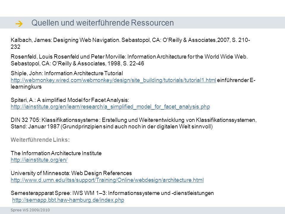 Quellen und weiterführende Ressourcen Quellen / Ressourcen Seminar I-Prax: Inhaltserschließung visueller Medien, 5.10.2004 Kalbach, James: Designing W