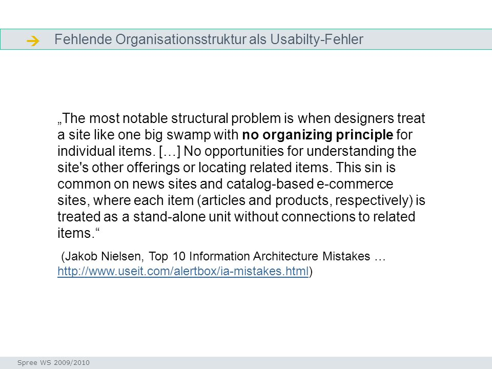 Fehlende Organisationsstruktur als Usabilty-Fehler Informationen ordnen Seminar I-Prax: Inhaltserschließung visueller Medien, 5.10.2004 Spree WS 2009/