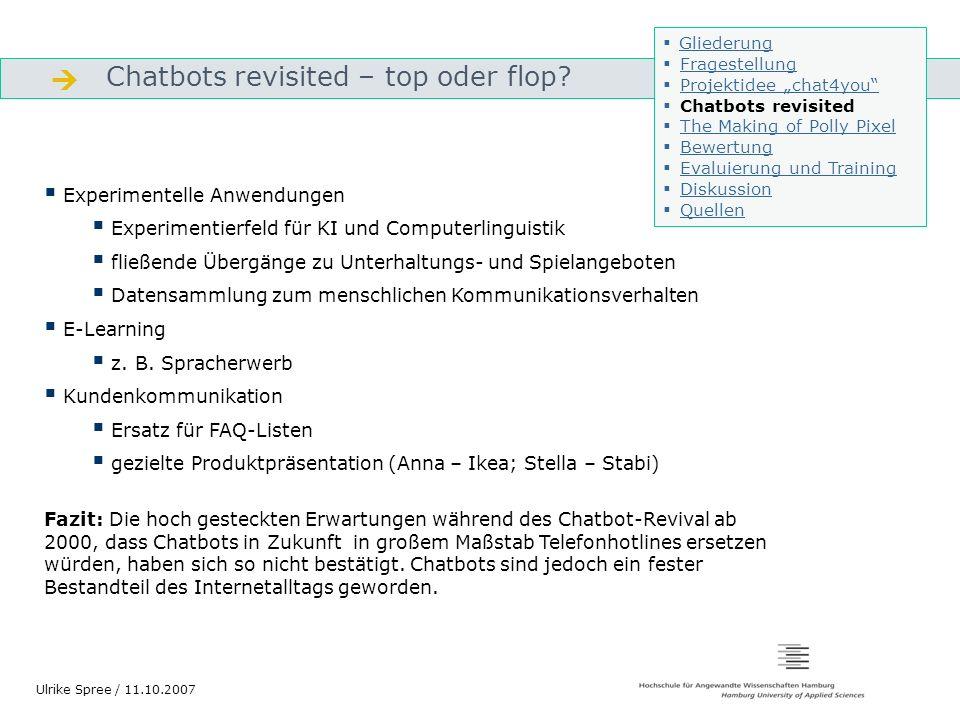 Chatbots revisited – top oder flop? Gliederung Ulrike Spree / 11.10.2007 Experimentelle Anwendungen Experimentierfeld für KI und Computerlinguistik fl