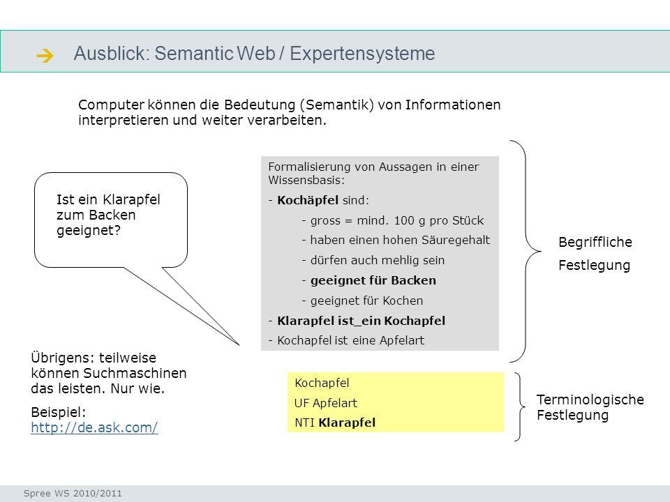 Ausblick: Semantic Web / Expertensysteme Seminar I-Prax: Inhaltserschließung visueller Medien, 5.10.2004 Spree WS 2010/2011 Semantic web Computer können die Bedeutung (Semantik) von Informationen interpretieren und weiter verarbeiten.