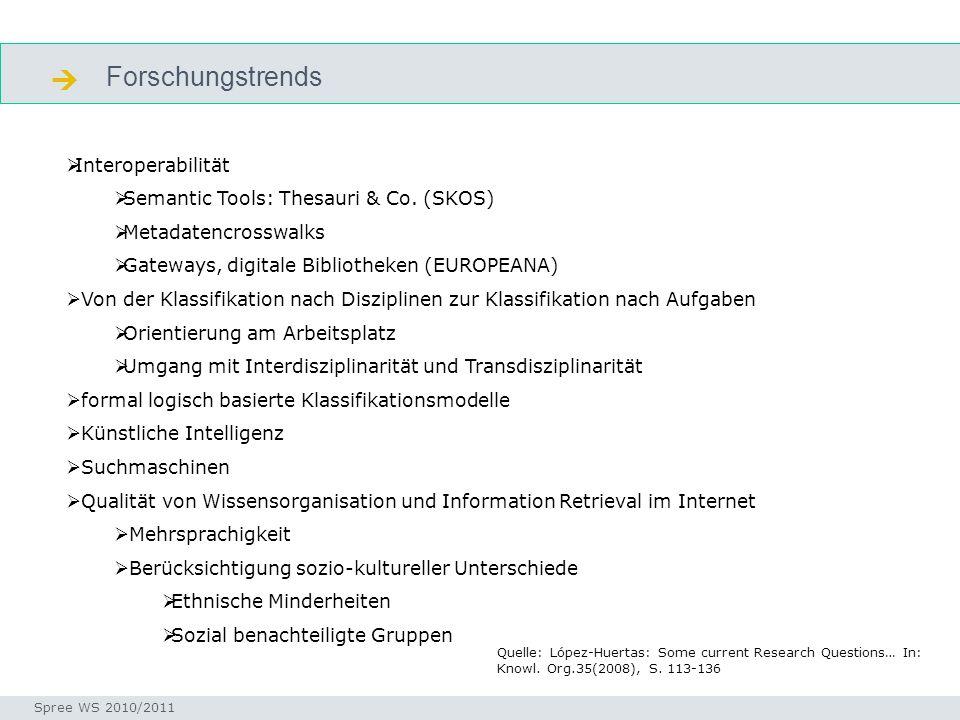 Forschungstrends Seminar I-Prax: Inhaltserschließung visueller Medien, 5.10.2004 Spree WS 2010/2011 forschungstrends Interoperabilität Semantic Tools: Thesauri & Co.