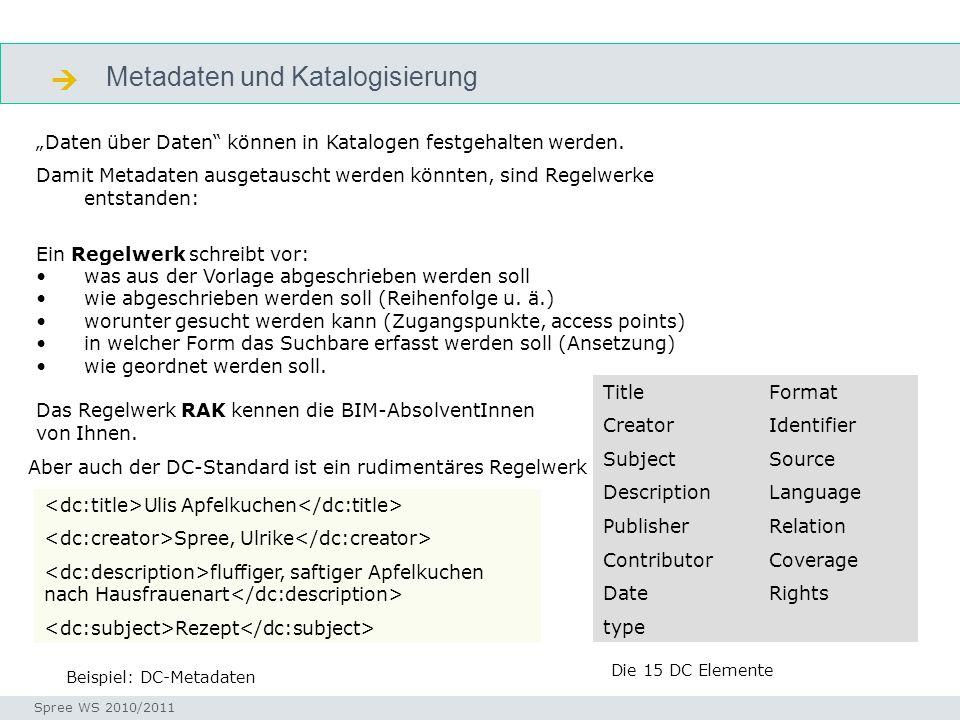 Metadaten und Katalogisierung Seminar I-Prax: Inhaltserschließung visueller Medien, 5.10.2004 Spree WS 2010/2011 metadaten Daten über Daten können in Katalogen festgehalten werden.