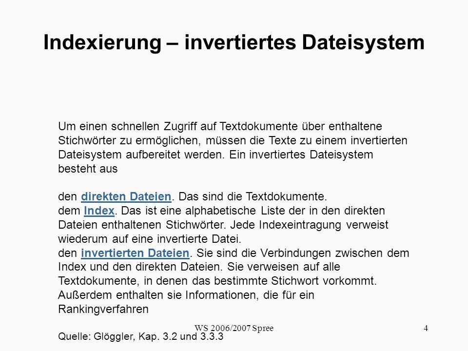 WS 2006/2007 Spree4 Indexierung – invertiertes Dateisystem Um einen schnellen Zugriff auf Textdokumente über enthaltene Stichwörter zu ermöglichen, müssen die Texte zu einem invertierten Dateisystem aufbereitet werden.