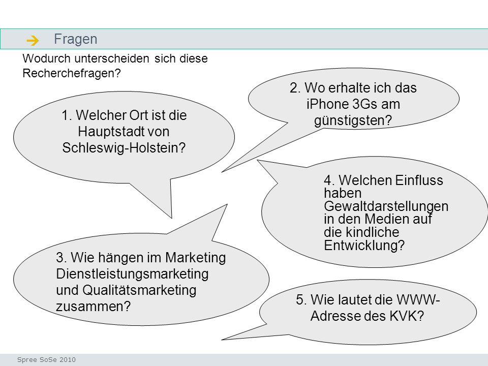 Fragen Fragen Seminar I-Prax: Inhaltserschließung visueller Medien, 5.10.2004 Spree SoSe 2010 1. Welcher Ort ist die Hauptstadt von Schleswig-Holstein