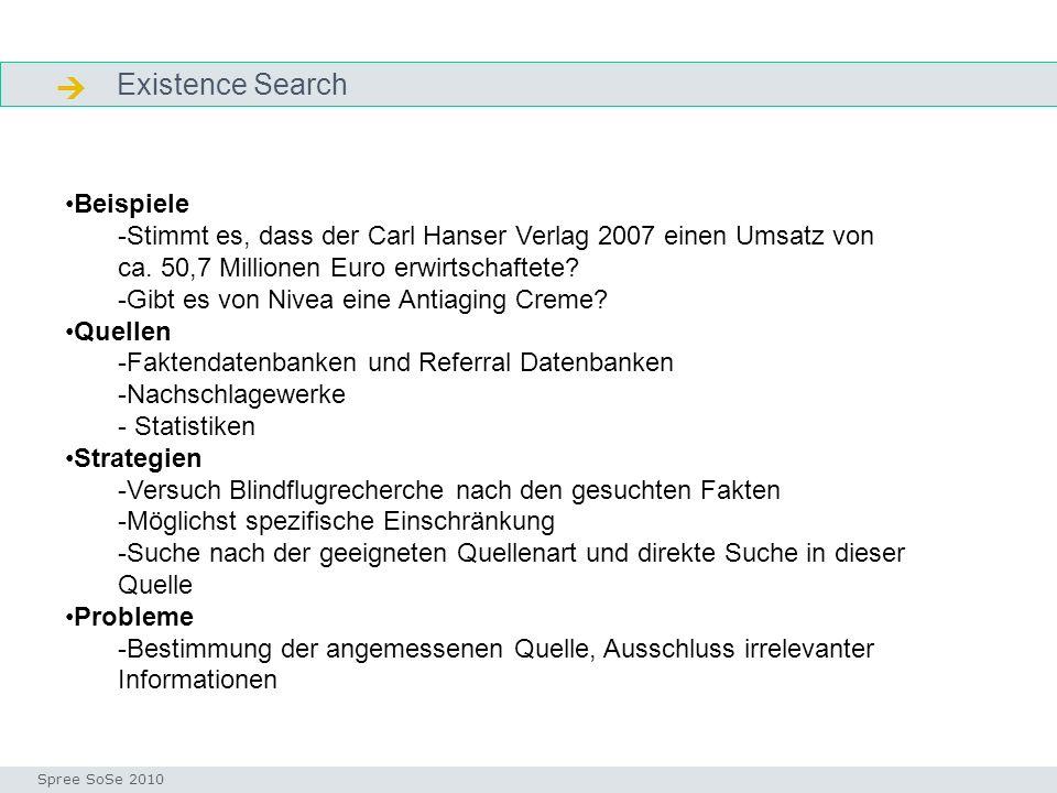 Existence Search Existence Seminar I-Prax: Inhaltserschließung visueller Medien, 5.10.2004 Spree SoSe 2010 Beispiele -Stimmt es, dass der Carl Hanser