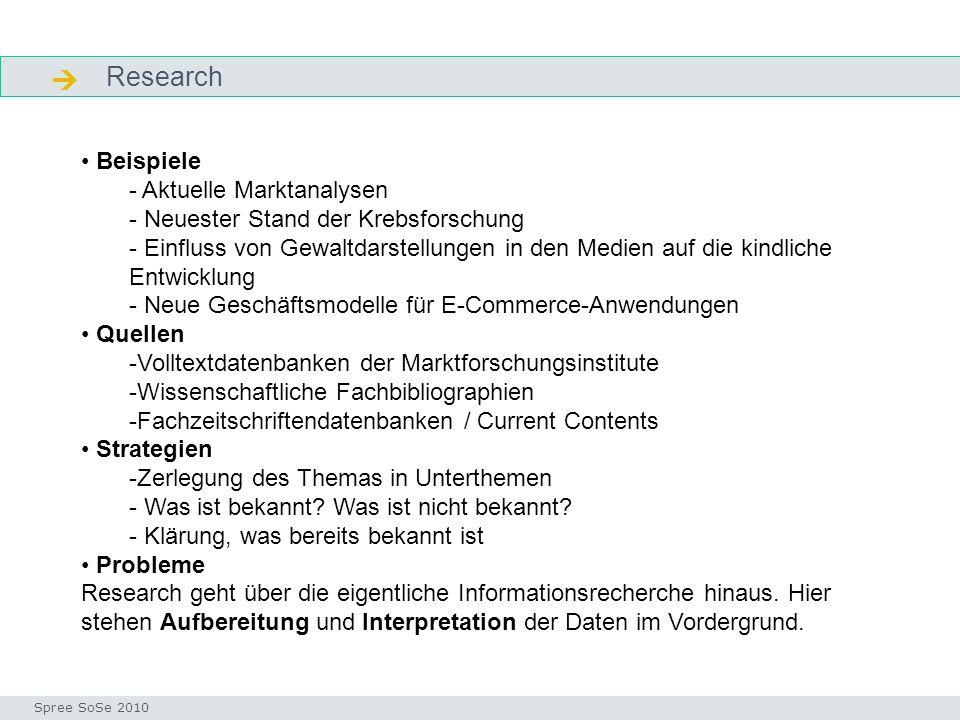 Research Seminar I-Prax: Inhaltserschließung visueller Medien, 5.10.2004 Spree SoSe 2010 Research Beispiele - Aktuelle Marktanalysen - Neuester Stand