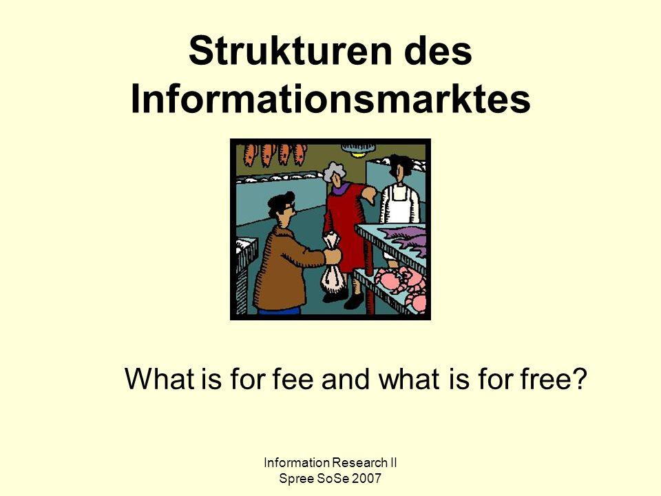 Information Research II Spree SoSe 2007 Themen 1.Ware Information.