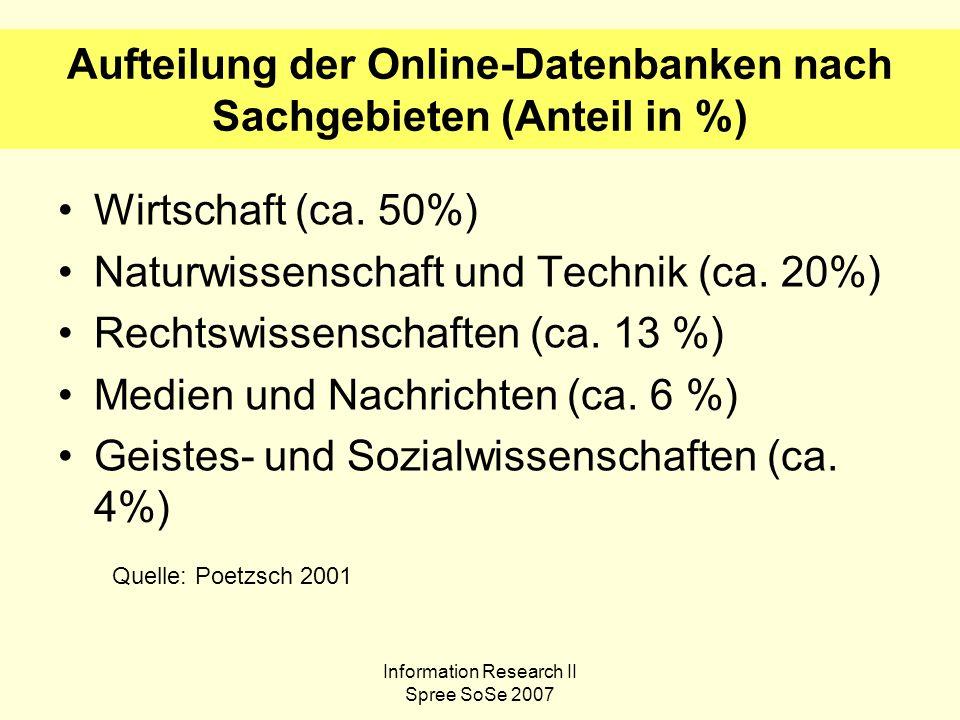 Information Research II Spree SoSe 2007 Aufteilung der Online-Datenbanken nach Sachgebieten (Anteil in %) Wirtschaft (ca.