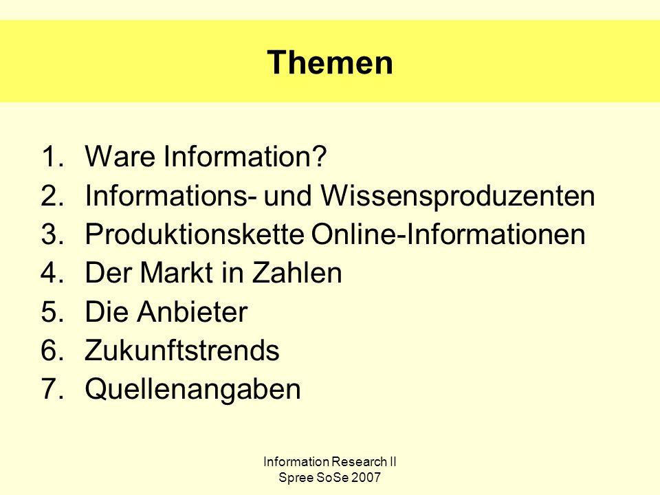 Information Research II Spree SoSe 2007 1.Ware Information.