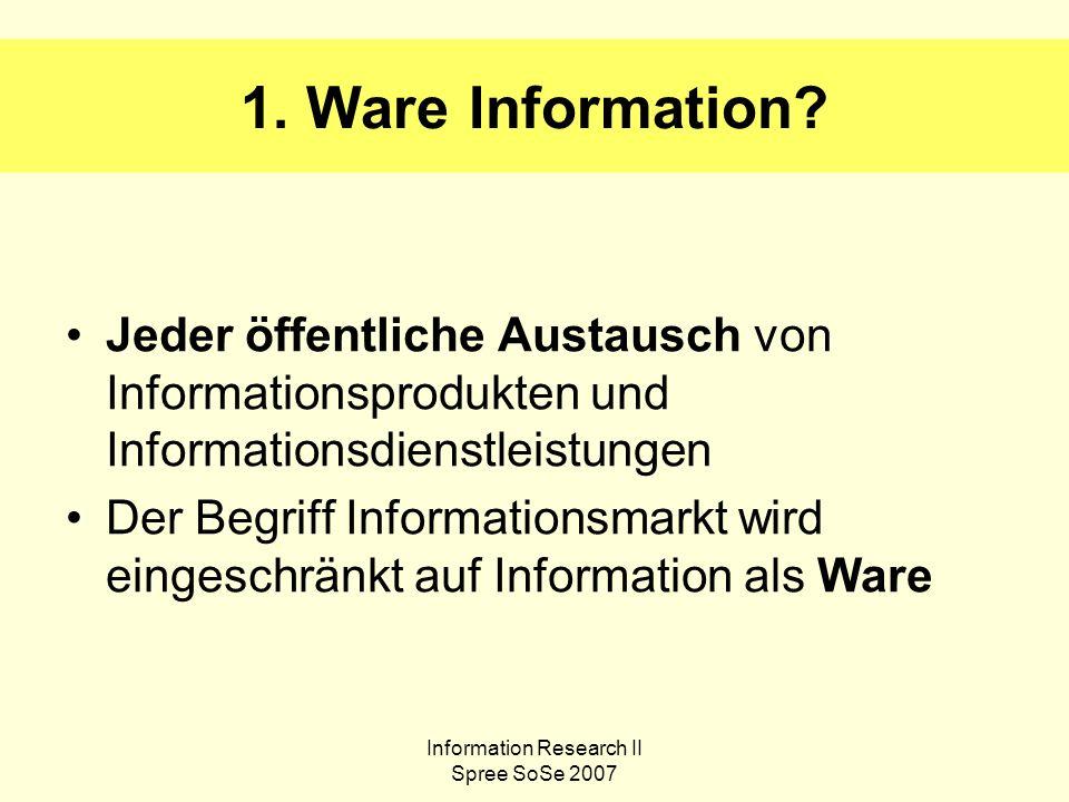 Information Research II Spree SoSe 2007 Auftragsrecherchen Eine Bibliothek führt Auftragsrecherchen für ihre Kunden in kostenfreien und kostenpflichtigen Datenbanken durch.