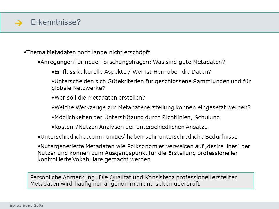 Erkenntnisse? Seminar I-Prax: Inhaltserschließung visueller Medien, 5.10.2004 Spree SoSe 2005 Erkenntnisse Thema Metadaten noch lange nicht erschöpft