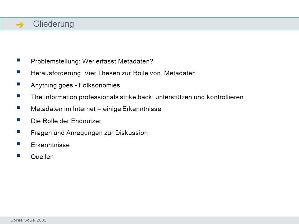 Gliederung Gliederung Problemstellung: Wer erfasst Metadaten.