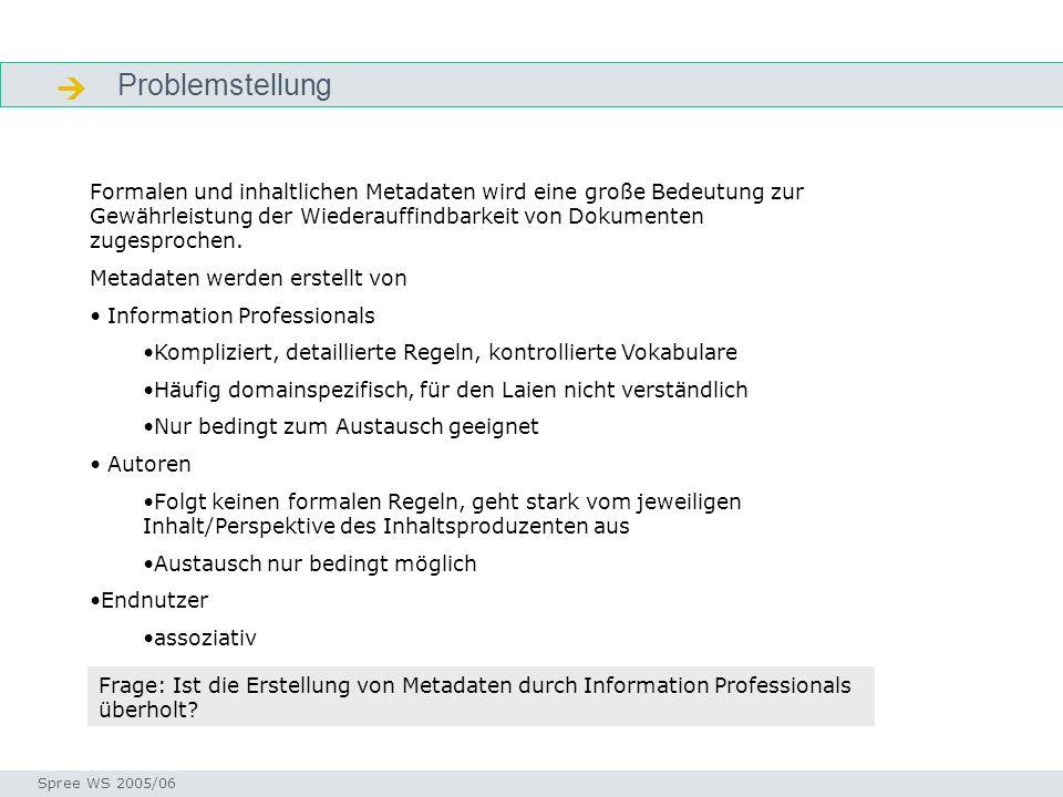 Problemstellung Problemstellung Seminar I-Prax: Inhaltserschließung visueller Medien, 5.10.2004 Spree WS 2005/06 Formalen und inhaltlichen Metadaten wird eine große Bedeutung zur Gewährleistung der Wiederauffindbarkeit von Dokumenten zugesprochen.