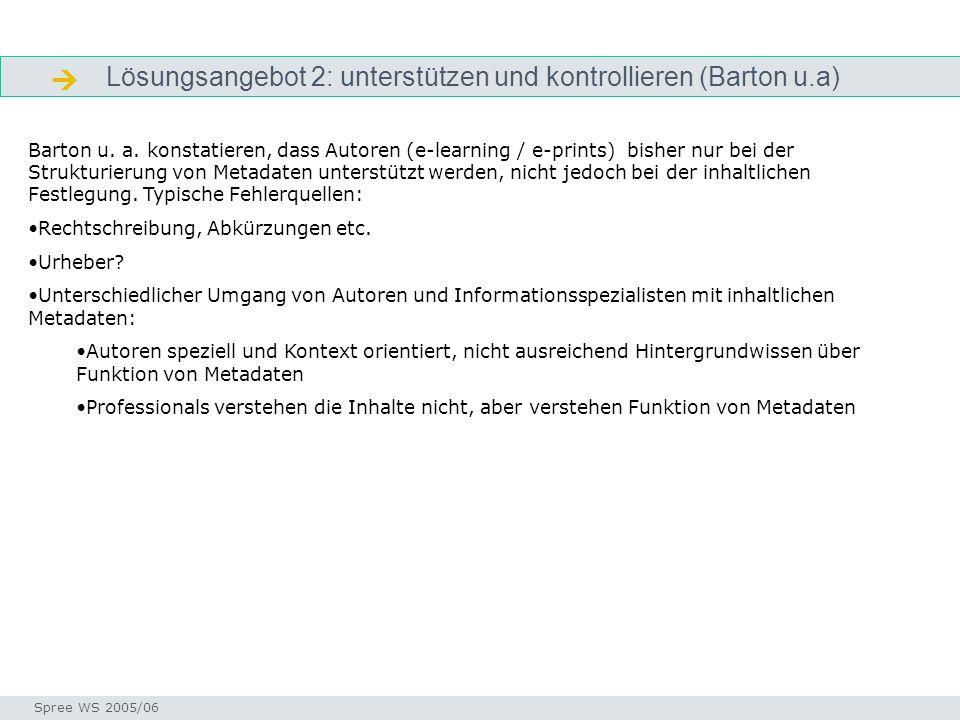 Lösungsangebot 2: unterstützen und kontrollieren (Barton u.a) Qualitätskontrolle Seminar I-Prax: Inhaltserschließung visueller Medien, 5.10.2004 Spree