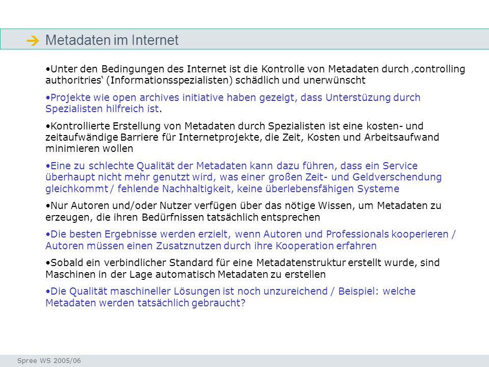Metadaten im Internet Seminar I-Prax: Inhaltserschließung visueller Medien, 5.10.2004 Spree WS 2005/06 Metadaten im Internet Unter den Bedingungen des Internet ist die Kontrolle von Metadaten durch controlling authoritries (Informationsspezialisten) schädlich und unerwünscht Projekte wie open archives initiative haben gezeigt, dass Unterstüzung durch Spezialisten hilfreich ist.
