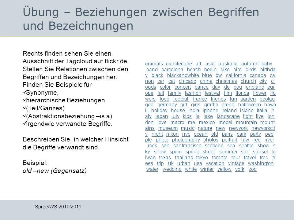 Übung – Beziehungen zwischen Begriffen und Bezeichnungen Spree/WS 2010/2011 Rechts finden sehen Sie einen Ausschnitt der Tagcloud auf flickr.de. Stell
